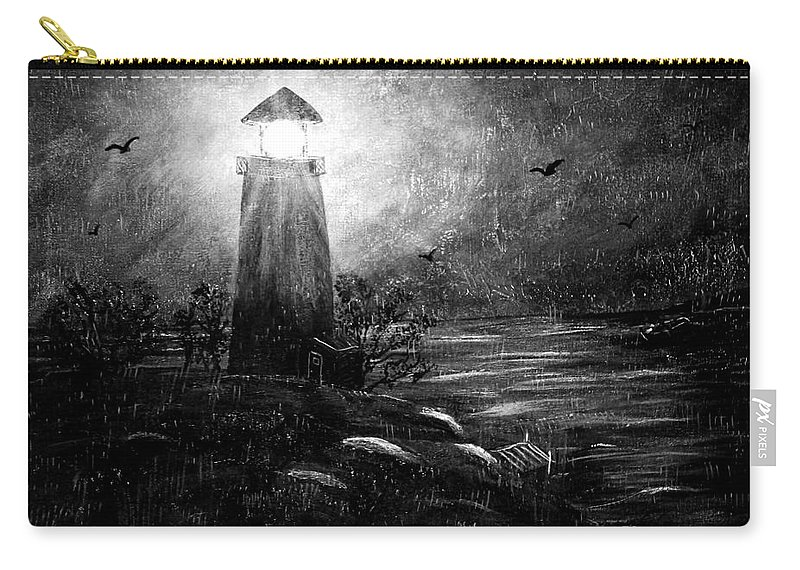 Lighthouse Carry-all Pouch featuring the painting Rainy Night At The Lighthouse by Barbara Griffin
