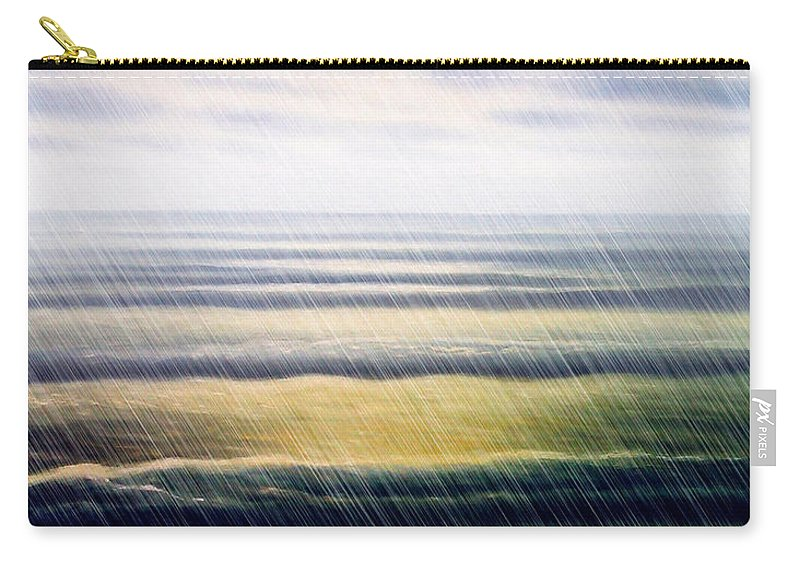 Seascape Carry-all Pouch featuring the painting Rainy Seascape by Algirdas Lukas