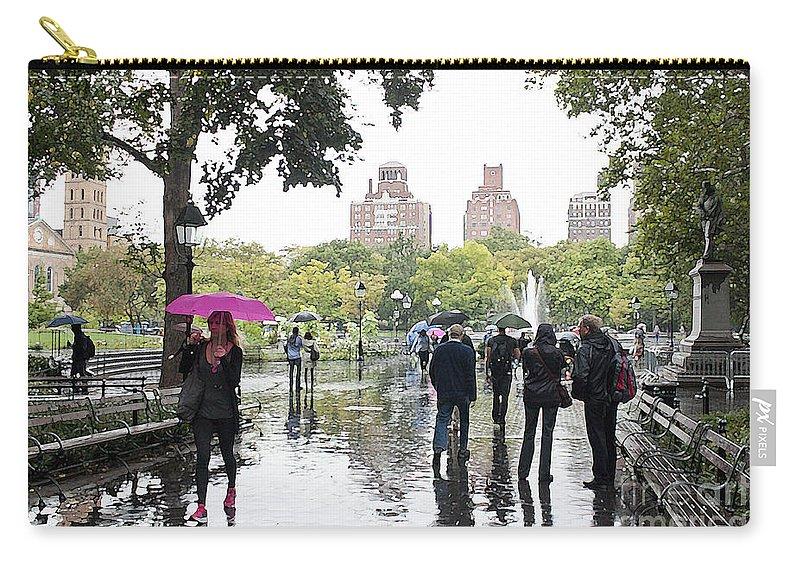 New York Carry-all Pouch featuring the photograph Rainy Washington Park by David Bearden