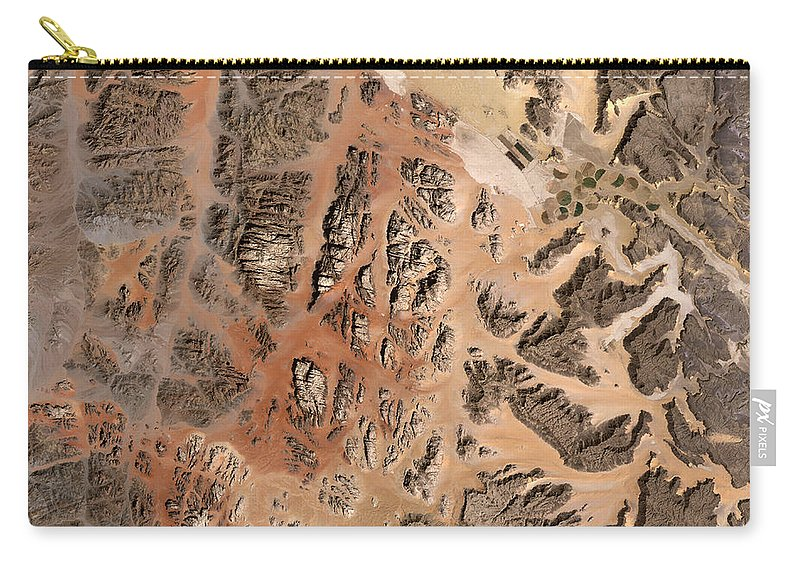 Satellite Image; Map; Environment; Desert; Plateau; Sand; Valley; Africa; Middle East; Jordan; Red Sea Carry-all Pouch featuring the photograph Ram Desert Transjordanian Plateau Jordan by Anonymous