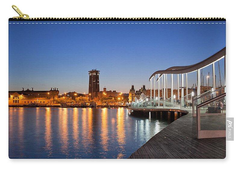 Barcelona Carry-all Pouch featuring the photograph Rambla De Mar Promenade In Barcelona At Night by Artur Bogacki