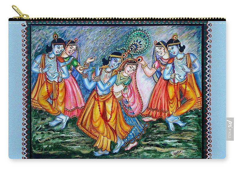 Hindu Carry-all Pouch featuring the painting Ras Leela by Harsh Malik