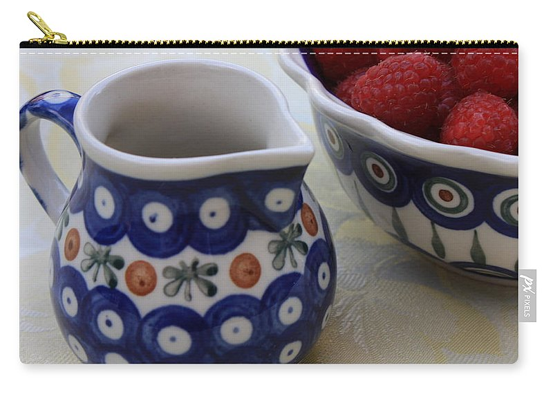 Raspberries Carry-all Pouch featuring the photograph Raspberries With Cream by Carol Groenen