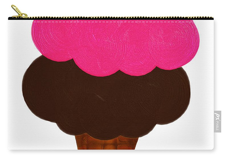 Ice Cream Carry-all Pouch featuring the digital art Raspberry And Chocolate Ice Cream Cone by Andee Design