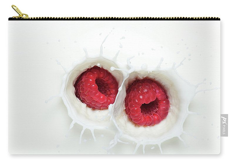 Milk Carry-all Pouch featuring the photograph Raspberry Milk Splash by Chris Stein