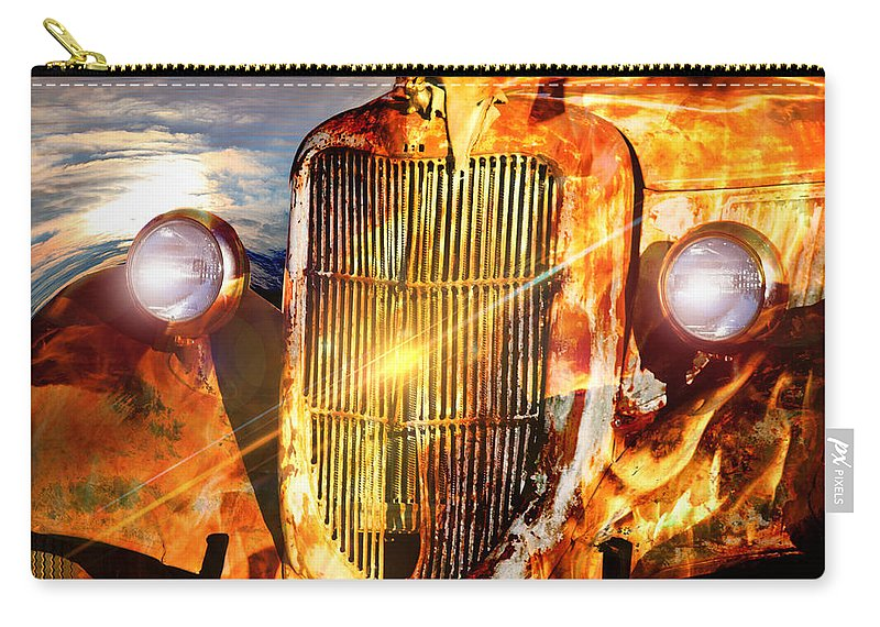 Rat Rod Carry-all Pouch featuring the digital art Rat Rod by Steve Herndon