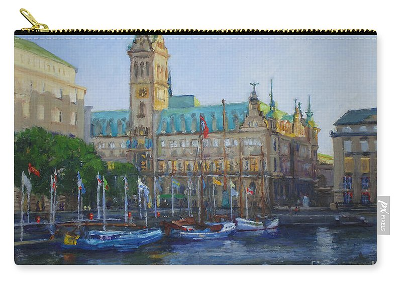 Hamburg Carry-all Pouch featuring the painting Rathaus by Joan Coffey