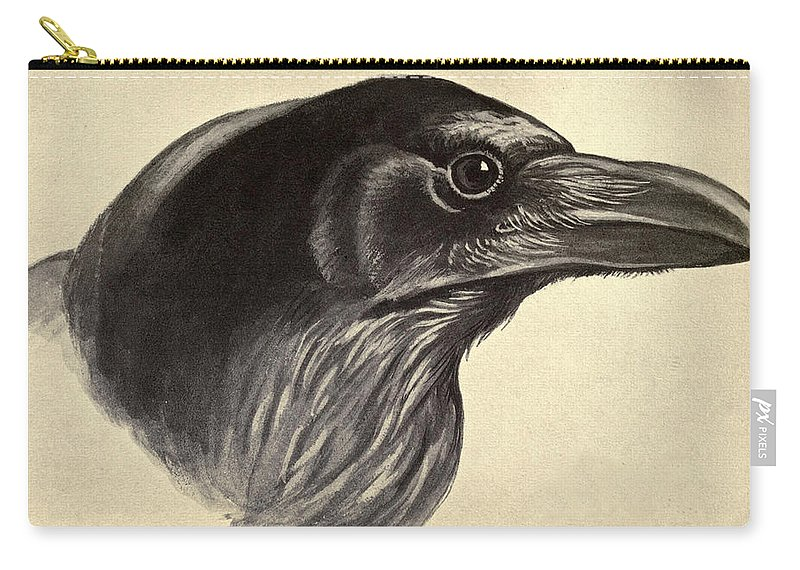 Raven Carry-all Pouch featuring the painting Raven by Philip Ralley