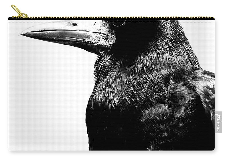 Bird Carry-all Pouch featuring the photograph Raven by Gunnar Orn Arnason