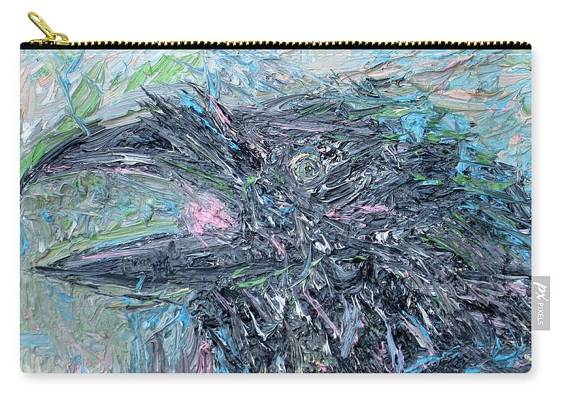 Raven Carry-all Pouch featuring the painting Raven - Oil Portrait by Fabrizio Cassetta