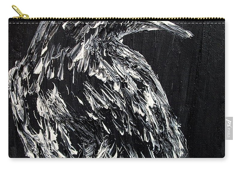 Raven Carry-all Pouch featuring the painting Raven On The Branch - Oil Painting by Fabrizio Cassetta
