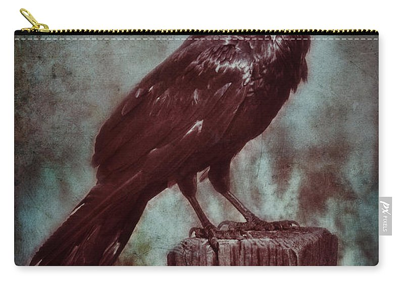 Fence Carry-all Pouch featuring the photograph Raven Perched On A Post by Jill Battaglia
