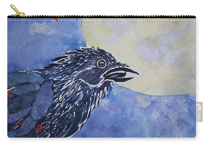 Raven.full Moon Carry-all Pouch featuring the painting Raven Speak by Ellen Levinson