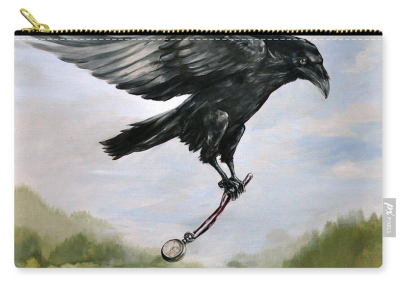 Raven Painting Carry-all Pouch featuring the painting Raven Stealing Time by Eve McCauley