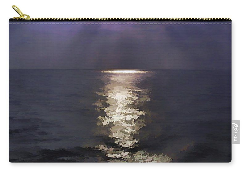 Arabian Sea Carry-all Pouch featuring the digital art Rays Of Light Shimering Over The Waters by Ashish Agarwal