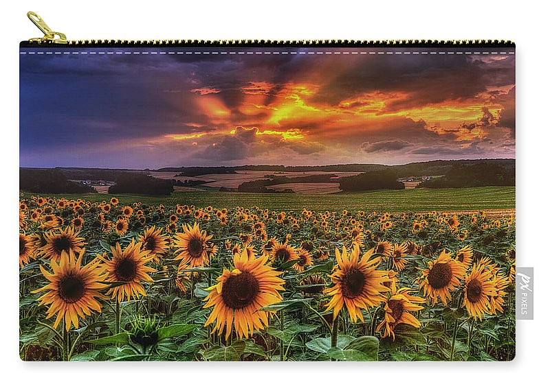 Sommer Carry-all Pouch featuring the pyrography Rays Of Sunflowers by Steffen Gierok