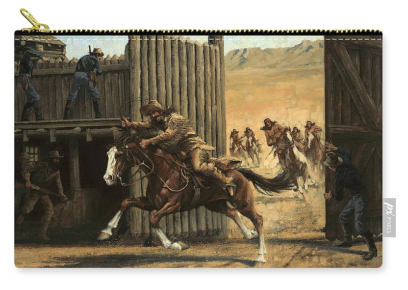 Reclosing Fort Carry-all Pouch featuring the painting Re-closing Frontiersmen Coming Into The Fort by Don Langeneckert