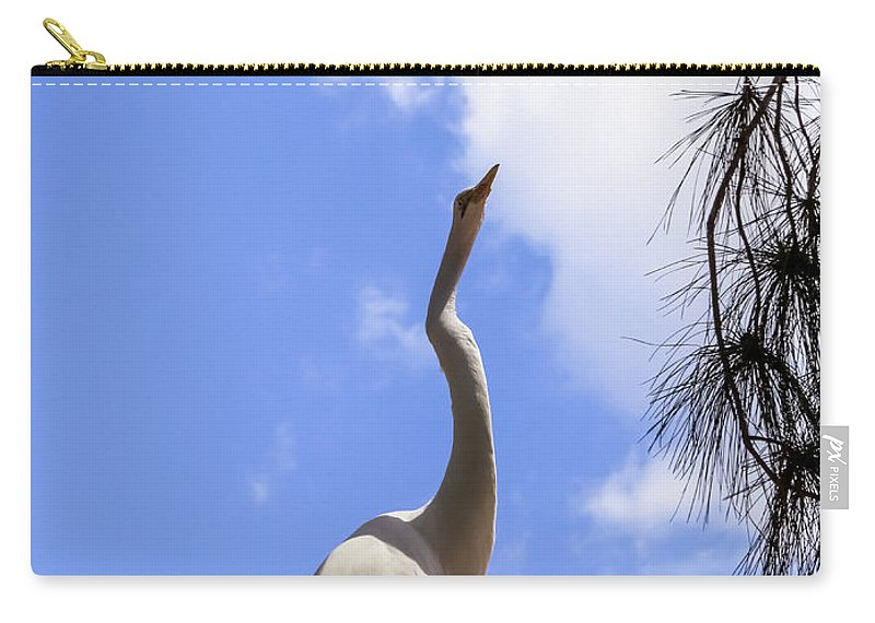 Great Egret Carry-all Pouch featuring the photograph Reach For The Sky by Zina Stromberg