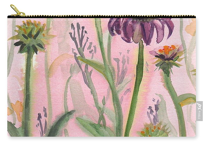 Purple Carry-all Pouch featuring the painting Reaching Flowers by Sheena Kohlmeyer