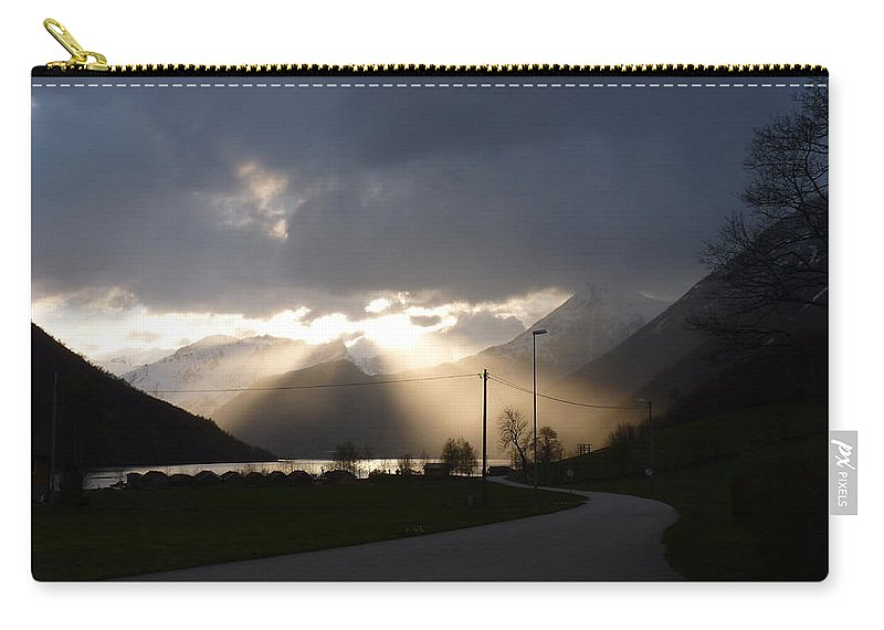 Carry-all Pouch featuring the photograph Reaching Through The Coulds by Katerina Naumenko