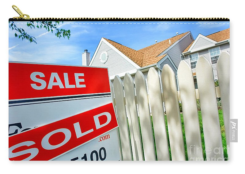 Sign Carry-all Pouch featuring the photograph Real Estate Sold Sign by Olivier Le Queinec