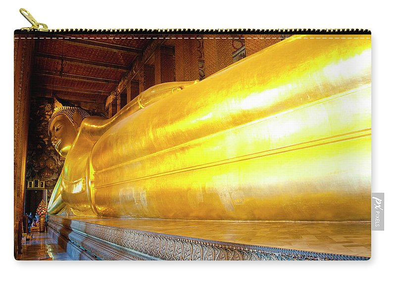 Statue Carry-all Pouch featuring the photograph Reclining Buddha, Wat Pho by Leontura
