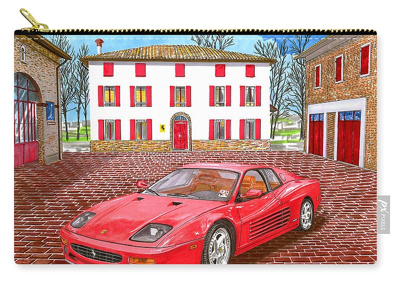 1995 Ferrari 512m Sitting At Enzo Ferrari's Garage Architectural Renderings Carry-all Pouch featuring the painting Enzo Ferrari S Garage With 1995 Ferrari 512m by Jack Pumphrey