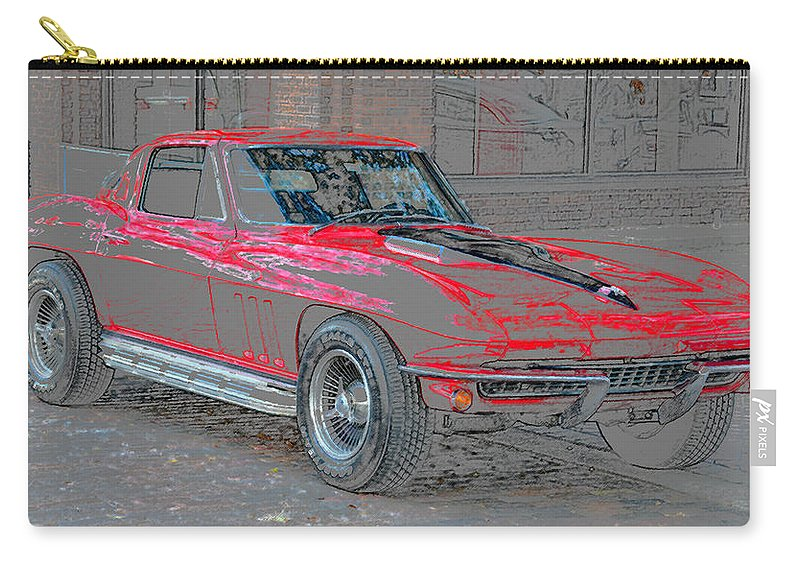 1965 Chevy Corvette Carry-all Pouch featuring the painting Red 65 by David Lee Thompson