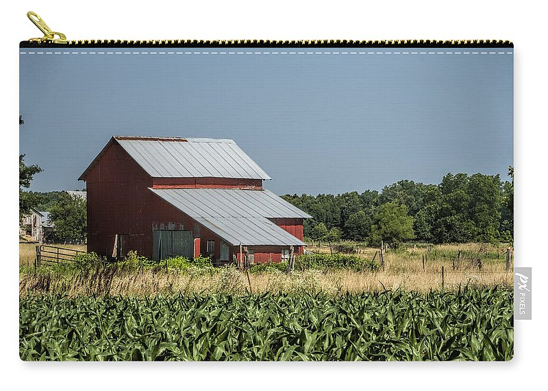 Amish Carry-all Pouch featuring the photograph Red Amish Barn And Corn Fields by Kathy Clark
