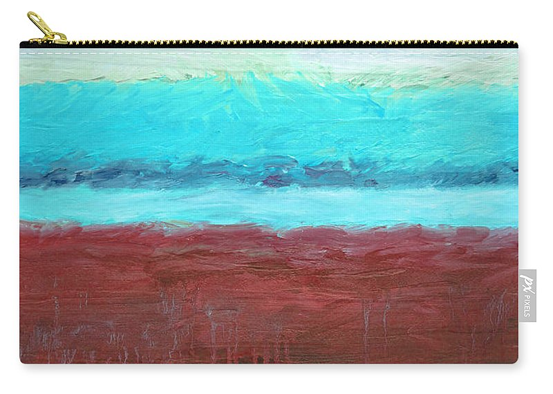 Abstract Carry-all Pouch featuring the painting Red And Aqua Get Married by Michelle Calkins