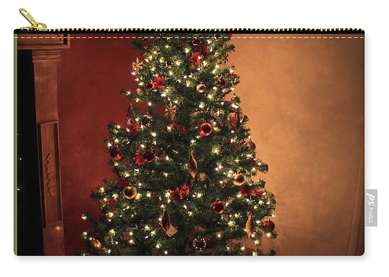 Green Carry-all Pouch featuring the photograph Red And Gold Christmas Tree With Caption by Jennifer E Doll