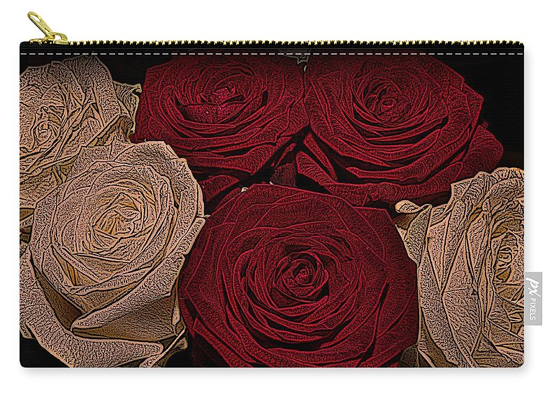 Rose Carry-all Pouch featuring the photograph Red And White Roses Color Engraved by David Dehner