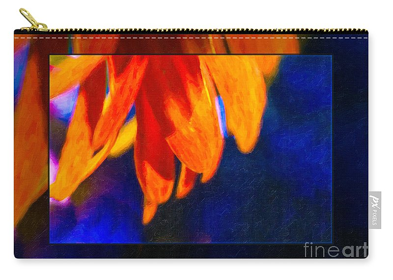 5x7 Carry-all Pouch featuring the painting Red And Yellow Bloom In A Blue Paradise by Omaste Witkowski
