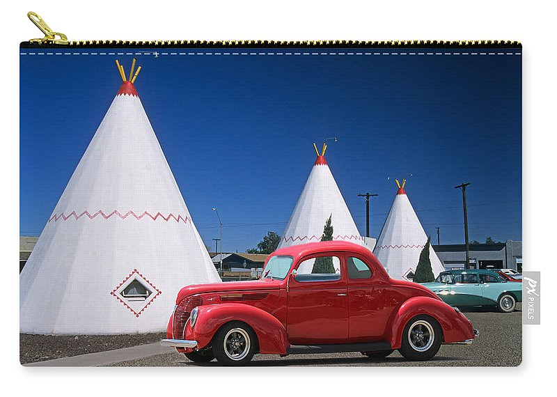 Red Antique Car Carry-all Pouch featuring the photograph Red Antique Car by Sylvia Thornton