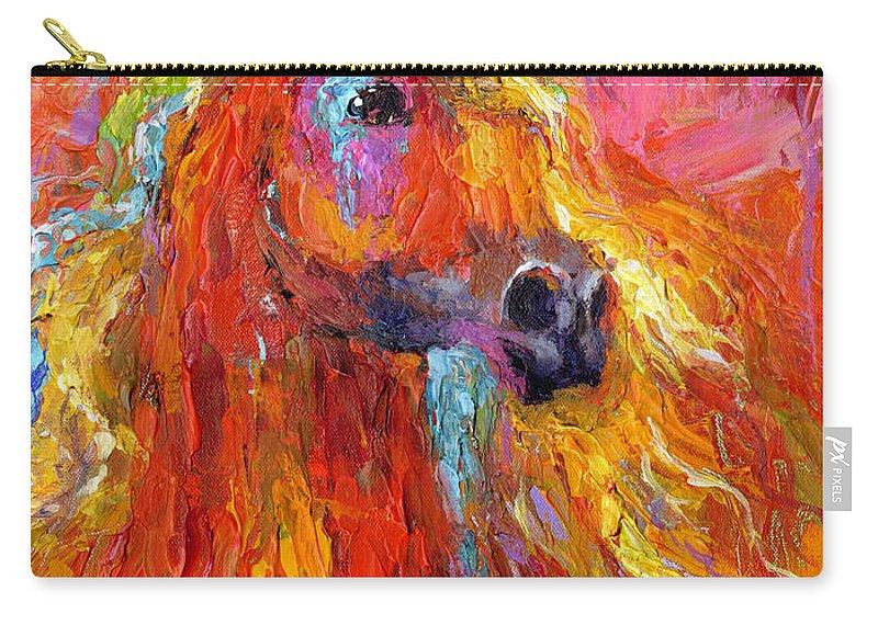 Arabian Horse Painting Carry-all Pouch featuring the painting Red Arabian Horse Impressionistic Painting by Svetlana Novikova