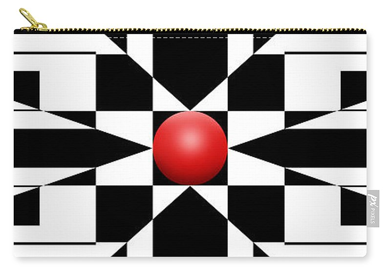 Abstract Carry-all Pouch featuring the digital art Red Ball 1 Panoramic by Mike McGlothlen