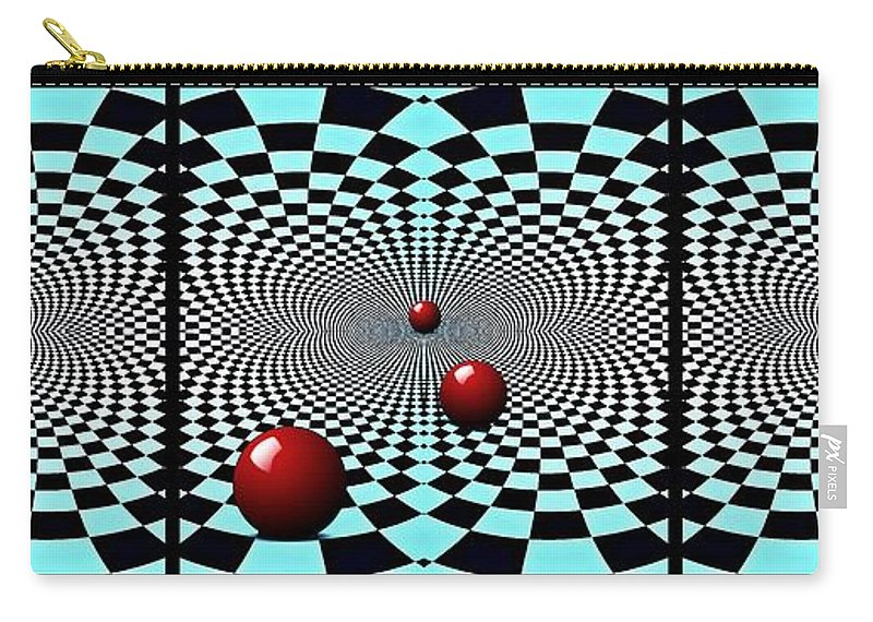 Circle Carry-all Pouch featuring the digital art Red Balls Triptych by Sarah Loft