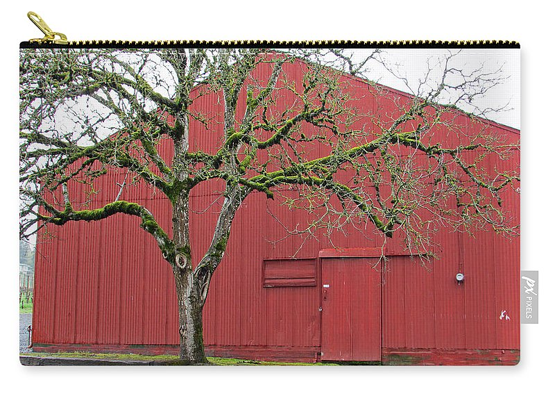 Dundee Hills Carry-all Pouch featuring the photograph Red Barn And Green Tree In Dundee Hills Oregon Wine Country by Elizabeth Rose