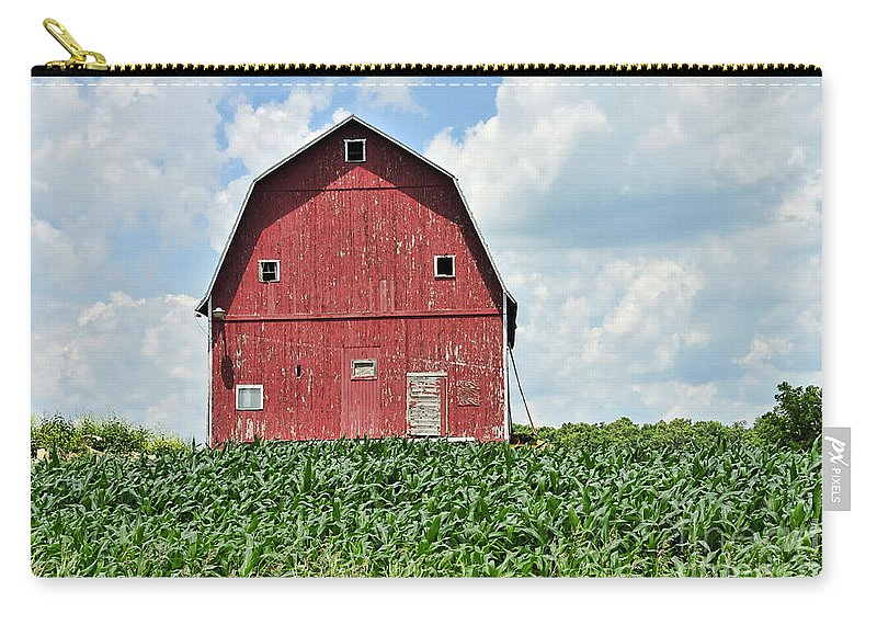 Red Barn Carry-all Pouch featuring the photograph Red Barn And New Corn by David Arment