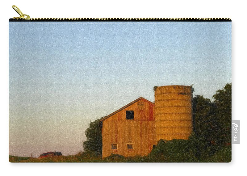 Barn Carry-all Pouch featuring the photograph Red Barn - Digital Painting Effect by Rhonda Barrett