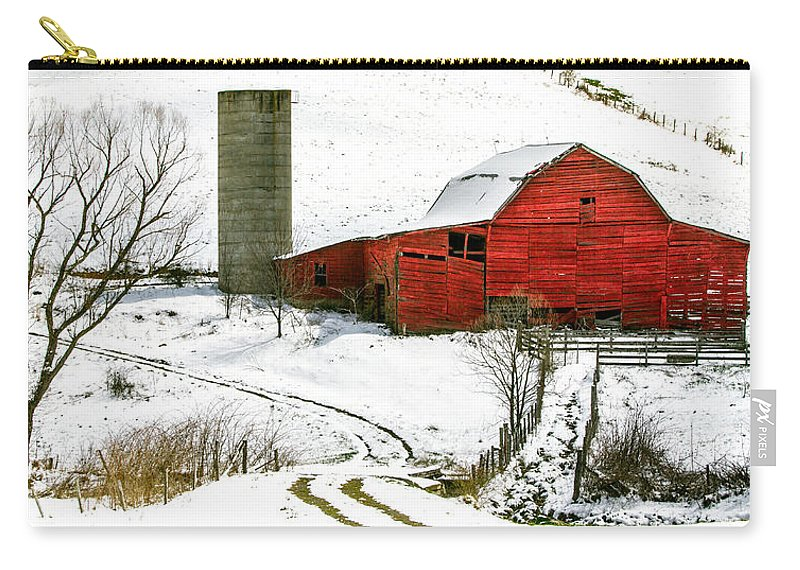 Snow Carry-all Pouch featuring the photograph Red Barn In Snow by John Haldane