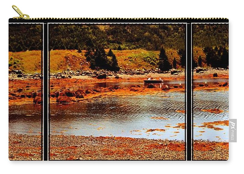 Red Boat Carry-all Pouch featuring the photograph Red Boat At Low Tide Triptych by Barbara Griffin