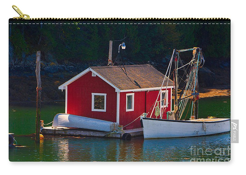 Campobello Carry-all Pouch featuring the photograph Red Boat House by Jerry Fornarotto