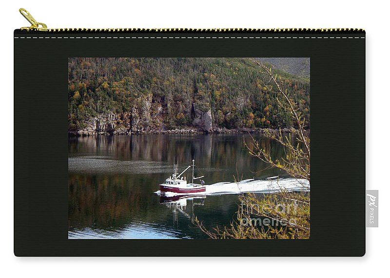 Red Boat Carry-all Pouch featuring the photograph Red Boat Returning From Sea by Barbara Griffin