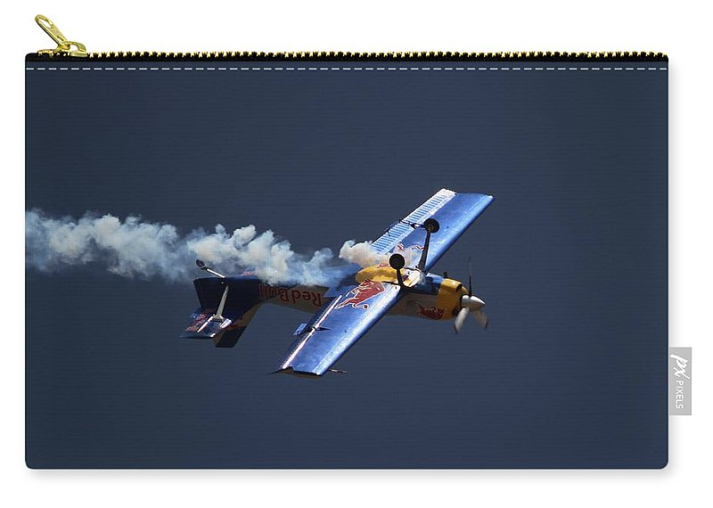 Redbulls Aerobatics Carry-all Pouch featuring the photograph Red Bull - Inverted Flight by Ramabhadran Thirupattur