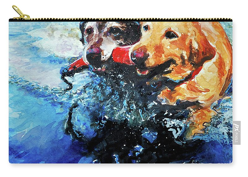 Labrador Retrievers Carry-all Pouch featuring the painting Red Bumper by Molly Poole