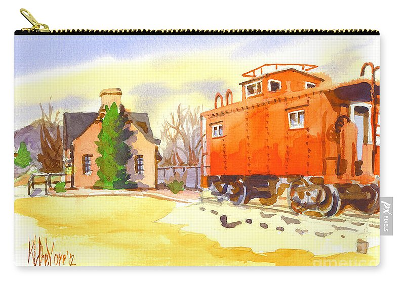 Red Caboose At Whistle Junction Ironton Missouri Carry-all Pouch featuring the painting Red Caboose At Whistle Junction Ironton Missouri by Kip DeVore