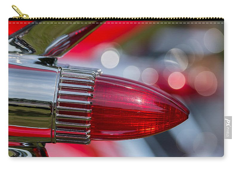 Automobile Carry-all Pouch featuring the photograph Red Cadillac Fins by Edward Fielding