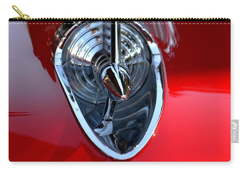 Carry-all Pouch featuring the photograph Red Chevy Hood Ornement by Dean Ferreira