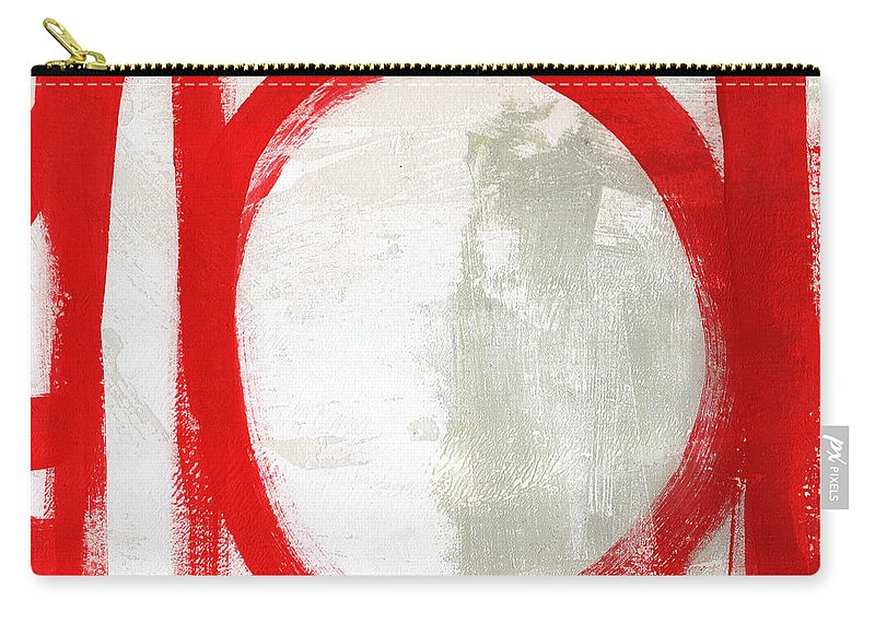 Red Carry-all Pouch featuring the painting Red Circle 3- Abstract Painting by Linda Woods